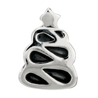 European Beads - ABSTRACT CHRISTMAS TREE SILVER PLATED BEADS CHARMS BRACELETS alternate image 2.