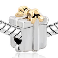 Charms Beads - SILVER GOLD BOWKNOT BOX EUROPEAN INFANT CHARM BEAD CHARMS BRACELETS alternate image 1.