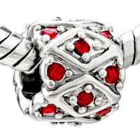 Charms Beads - SILVER RED SWAROVSKI CRYSTAL BLING EUROPEAN BEAD CHARM BRACELET alternate image 1.