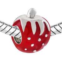 Charms Beads - SILVER PLATED BIG RED STRAWBERRY EUROPEAN BEAD CHARMS BRACELETS alternate image 1.