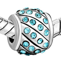 Charms Beads - AQUAMARINE BLUE SWAROVSKI CRYSTAL BLING BEADS CHARMS BRACELETS alternate image 1.