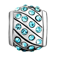 Charms Beads - AQUAMARINE BLUE SWAROVSKI CRYSTAL BLING BEADS CHARMS BRACELETS alternate image 2.