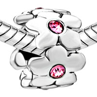 Charms Beads - SILVER OCTOBER BIRTHSTONE FLOWER CHARMS BRACELETS PATTERN GORGEOUS alternate image 1.