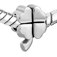 Charms Beads - SILVER PLATED LUCKY FOUR LEAF CLOVER EUROPEAN BEAD CHARMS BRACELETS alternate image 1.