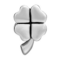 Charms Beads - SILVER PLATED LUCKY FOUR LEAF CLOVER EUROPEAN BEAD CHARMS BRACELETS alternate image 2.