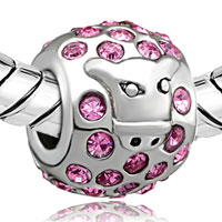 Charms Beads - SILVER PLATED PINK SAPPHIRE BULL EUROPEAN BEAD CHARMS BRACELETS alternate image 1.