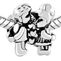Charms Beads - SILVER PLATED KISS HEART CHARM BRACELET LOVE LOVER EUROPEAN BEAD alternate image 1.