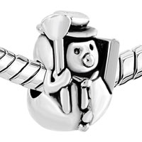 Charms Beads - SILVER PLATED CHRISTAMS SNOWMAN BROOM EUROPEAN BEAD CHARM BRACELETS alternate image 1.