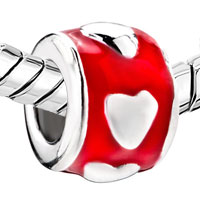Sterling Silver Jewelry - STERLING SILVER RED CIRCLE HEART LOVE FIT BEADS CHARMS BRACELETS ALL BRANDS alternate image 1.