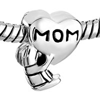 Sterling Silver Jewelry - MOTHER DAUGHTER CHARMS HEART BEADS CHARMS 925 STERLING SILVER BEADS alternate image 1.