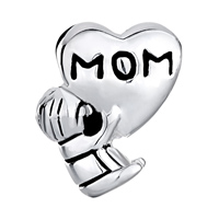 Sterling Silver Jewelry - MOTHER DAUGHTER CHARMS HEART BEADS CHARMS 925 STERLING SILVER BEADS alternate image 2.