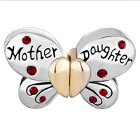 Charms Beads - MOTHER DAUGHTER CHARM SEPARABLE BUTTERFLY CHARM RED CRYSTAL HEART LOVE alternate image 2.