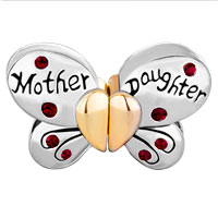 Charms Beads - MOTHER DAUGHTER CHARM SEPARABLE BUTTERFLY CHARM BRACELET HEART MOM alternate image 2.