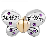 Charms Beads - MOTHER DAUGHTER CHARMS SEPARABLE BUTTERFLY PURPLE CRYSTAL HEART MOM alternate image 2.
