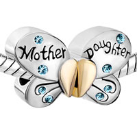 Charms Beads - MOTHER DAUGHTER CHARMS SEPARABLE BUTTERFLY BLUE CRYSTAL HEART MOM alternate image 1.