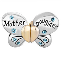 Charms Beads - MOTHER DAUGHTER CHARMS SEPARABLE BUTTERFLY BLUE CRYSTAL HEART MOM alternate image 2.