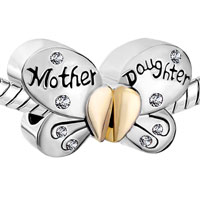 Charms Beads - MOTHER DAUGHTER CHARMS SEPARABLE BUTTERFLY CLEAR CRYSTAL HEART MOM alternate image 1.