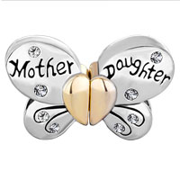 Charms Beads - MOTHER DAUGHTER CHARMS SEPARABLE BUTTERFLY CLEAR CRYSTAL HEART MOM alternate image 2.