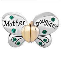 Charms Beads - MOTHER DAUGHTER CHARMS SEPARABLE BUTTERFLY GREEN CRYSTAL LOVE MOM alternate image 2.