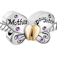 Charms Beads - MOTHER DAUGHTER CHARMS SEPARABLE BUTTERFLY PURPLE CRYSTAL HEART MOM alternate image 1.