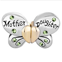 Charms Beads - MOTHER DAUGHTER CHARM SEPARABLE BUTTERFLY PERIDOT CRYSTAL HEART MOM alternate image 2.