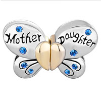 Charms Beads - MOTHER DAUGHTER CHARMS SEPARABLE BUTTERFLY GREEN CRYSTAL HEART MOM alternate image 2.