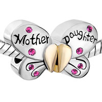Charms Beads - MOTHER DAUGHTER CHARMS SEPARABLE BUTTERFLY PINK CRYSTAL HEART MOM alternate image 1.