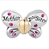 Charms Beads - MOTHER DAUGHTER CHARMS SEPARABLE BUTTERFLY PINK CRYSTAL HEART MOM alternate image 2.