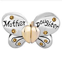 Charms Beads - MOTHER DAUGHTER CHARMS SEPARABLE BUTTERFLY YELLOW CRYSTAL HEART MOM alternate image 2.
