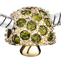 Charms Beads - 22K GOLDEN MUSHROOM OLIVINE RHINESTONE PERIDOT GREEN CHARM BEAD alternate image 1.