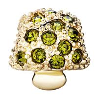 Charms Beads - 22K GOLDEN MUSHROOM OLIVINE RHINESTONE PERIDOT GREEN CHARM BEAD alternate image 2.