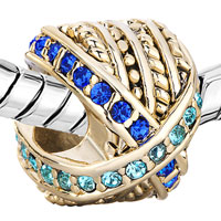 Charms Beads - 22K GOLDEN ROUND MIX MATCHED BLUE RHINESTONE CRYSTAL CHARM BEAD alternate image 1.