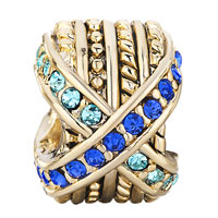 Charms Beads - 22K GOLDEN ROUND MIX MATCHED BLUE RHINESTONE CRYSTAL CHARM BEAD alternate image 2.
