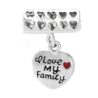 Charms Beads - HAPPY FAMILY LIFE DANGLE HEART CHARM BRACELET LOVE EUROPEAN BEAD CHARM alternate image 1.