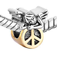 Charms Beads - 22K GOLDEN CUTE SLEEPING ANGEL PEACE SYMBOL BEADS CHARMS BRACELETS alternate image 1.