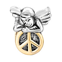 Charms Beads - 22K GOLDEN CUTE SLEEPING ANGEL PEACE SYMBOL BEADS CHARMS BRACELETS alternate image 2.