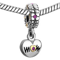Charms Beads - MOTHER DAUGHTER CHARM ROSE PINK OCTOBER BIRTHS HEART CHARM LOVE alternate image 1.