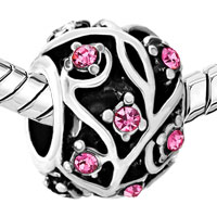 Charms Beads - SILVER ROUND FLOWER CHARM BRACELETS OCTOBER BIRTHSTONE ROSE CRYSTAL alternate image 1.