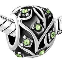 New Year Deals - PERIDOT GREEN CRYSTAL BLACK LEAF PATTERN BEAD DESIGNER CHARM BRACELET alternate image 1.