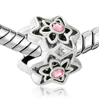 Charms Beads - SILVER PLATED ROSE PINK SWAROVSKI CRYSTAL FLOWER CHARMS BRACELETSS alternate image 1.