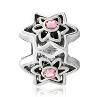 Charms Beads - SILVER PLATED ROSE PINK SWAROVSKI CRYSTAL FLOWER CHARMS BRACELETSS alternate image 2.