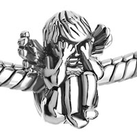 Charms Beads - SILVER ANGEL SQUATTING SEE NO EVIL EUROPEAN BEAD CHARM BRACELET alternate image 1.