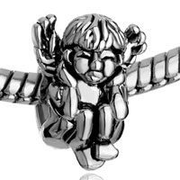 Charms Beads - SILVER ANGEL SQUATTING HEAR NO EVIL EUROPEAN BEAD CHARMS BRACELETS alternate image 1.