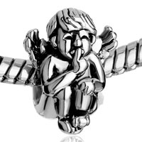 Charms Beads - SILVER ANGEL SQUATTING SPEAK NO EVIL EUROPEAN BEAD CHARMS BRACELETS alternate image 1.