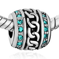 Charms Beads - CYLINDER MARCH BIRTHS AQUAMARINE CRYSTAL CHAIN BEADS CHARM BRACELETS alternate image 1.