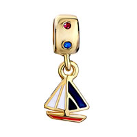 Charms Beads - 22K GOLDEN ROUND CRYSTAL DANGLE WHITE BLUE DRIP SAILBOAT CHARM BEAD alternate image 2.