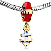 Charms Beads - RED DRIP LIFEBUOY DANGLE GOLDEN ANCHOR FIT ALL BRANDS BRACELETS alternate image 1.