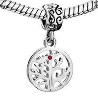 Charms Beads - DANGLE JULY BIRTHSTONE FAMILY TREE OF LIFE RUBY RED CRYSTAL CHARM BEAD alternate image 1.
