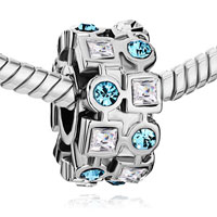 Charms Beads - FERRIS WHEEL MARCH BIRTHSTONE CRYSTAL ROUND SQUARE EUROPEAN BEAD BLUE alternate image 1.