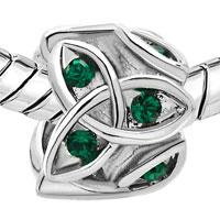 Charms Beads - MAY BIRTHS EMERALD GREEN CRYSTAL CELTIC CLADDAGH IRISH CHARM CHARM alternate image 1.